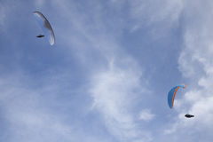 Two symmetric paragliders Stock Photo