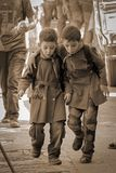 The two Syrian boys happily go to school Royalty Free Stock Image