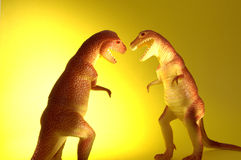 Two T-Rex. Dinosaurs fighting or loving Stock Photo