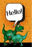 Two T-Rex saying hello on poster. Illustration Stock Images
