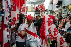 Lima, Peru - OCTOBER 10th 2017: Fanaticism in Peru Peru vs Colombia Russia 2018 Royalty Free Stock Image