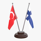 Two table flags. Turkey and Finland, two table flags isolated on white background. 3d image Royalty Free Stock Photos