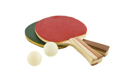 Two table tennis racket and ball. Isolated on white background Royalty Free Stock Photos