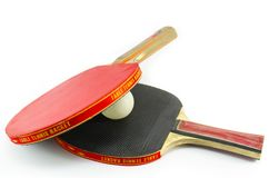 Two table tennis rackets and a ball isolated Stock Image
