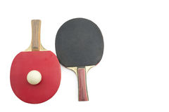 Two table tennis rackets and a ball isolated Stock Photo