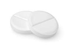 Two tablets aspirin Path. Tablet aspirin isolated on a white background Path Stock Photo