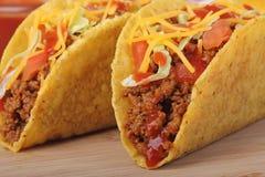 Two Tacos Closeup Stock Photos