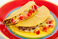 Two tacos on a red plate Royalty Free Stock Image