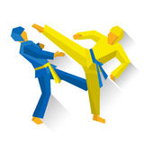 Two taekwondo fighters. Martial arts competition Stock Photo