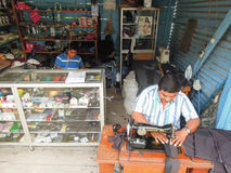 Two tailors on them workshop at Sayaxche on Guatemala Royalty Free Stock Photo