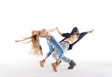 Two talented dancers practising together Stock Image