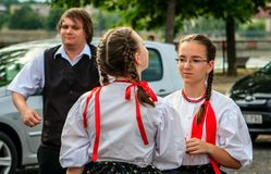 Free Two Talking Girls Who Go Folk Dancing. Royalty Free Stock Photography - 109488597