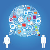 Two talking people with abstract speech cloud. Of different icons Stock Image