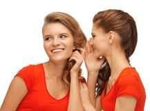 Two talking teenage girls in red t-shirts Royalty Free Stock Image