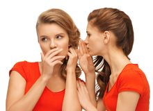 Two talking teenage girls in red t-shirts Royalty Free Stock Photos