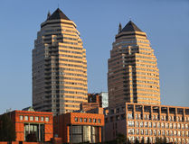 Two tall buildings at sunset Royalty Free Stock Photos
