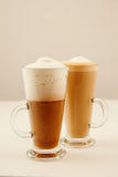 Two tall glass coffee latte Royalty Free Stock Photography