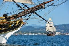 Pirate Ships doing battle. Two tall ships doing battle - Bellingham, WA Stock Photo