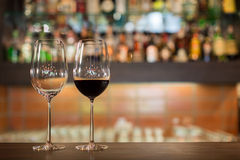 Two tall wine glasses Stock Image