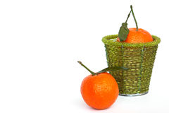 Two tangerines. Fruits (two tangerines) on white background Stock Photo