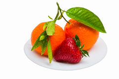 Two tangerines with green leaves and one strawberr Stock Images
