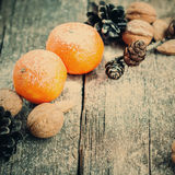 Two Tangerines, holiday card, selective focus, toned Royalty Free Stock Photography