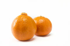 Two tangerines isolated closeup. On white background stock images