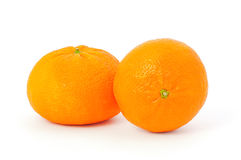 Two tangerines on white Royalty Free Stock Image