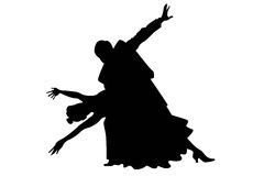 Two tango couple silhouettes. On a white vector illustration