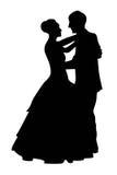Two tango couple silhouettes isolate. Two black tango couple silhouettes on a white stock illustration