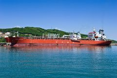Two tanker near the oil terminal company Rosneft. Nakhodka Bay. East (Japan) Sea. 30.05.2014 Royalty Free Stock Images