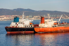 Two Tankers in Gibralter Royalty Free Stock Image