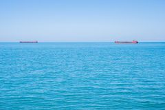 Two tankers on the horizon of the Black Sea Stock Photo