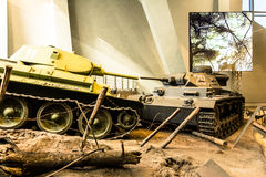 Two tanks are aimed at each other`s arms. German tank and a Soviet tank Royalty Free Stock Photography
