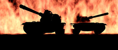 Tanks. Two tanks appearing out of flames Royalty Free Stock Image