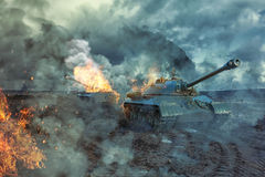 Two tanks on the battlefield Stock Photography