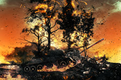 Two tanks in the burned forest Royalty Free Stock Image