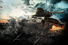 Two tanks destroyed in the area Royalty Free Stock Photos