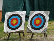 Two targets. For archers in a sport's show Royalty Free Stock Images