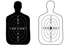 Two targets of the outline of a man shooting.  Stock Photo
