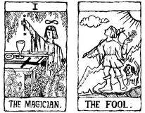 Two Tarot Cards outline. Hand-drawn Tarot cards depicting the Magician and the Fool Stock Photo