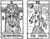 Two Tarot Cards outline v.2. Hand-drawn, grungy, textured Tarot cards depicting the High Priestess and the Tower Stock Images