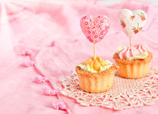 Two tartlets with cream and valentines Stock Photography