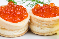 Two tartlets with red caviar Royalty Free Stock Image