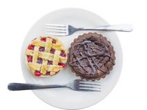 Two tarts on a plate. Over white Royalty Free Stock Photo