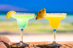 Two tasty alcoholic cocktails on background of Stock Image