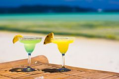Two tasty alcoholic cocktails on background of Royalty Free Stock Image