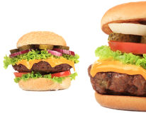 Two tasty cheeseburgers. Stock Photo