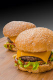 Two tasty cheeseburgers with lettuce; beef; double cheese and ketchup Stock Photos