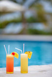 Two tasty cocktails on tropical white beach Stock Image
